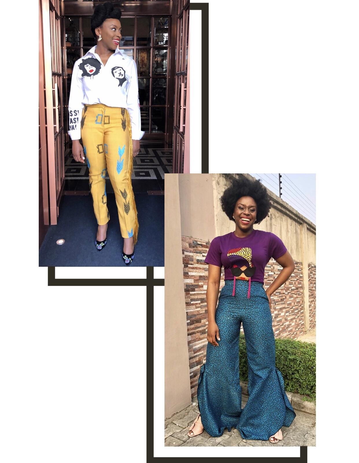 Chimamanda Ngozi Adichie wearing Nigerian Made Designer Outfits
