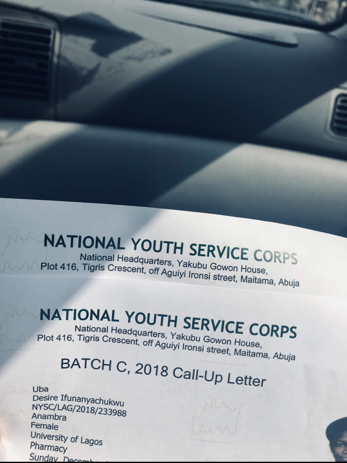 A Sample Of NYSC Call-Up Letter