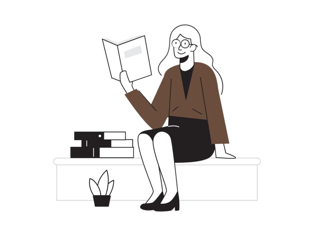 An illustration of a woman reading My Sister, The Serial Killer