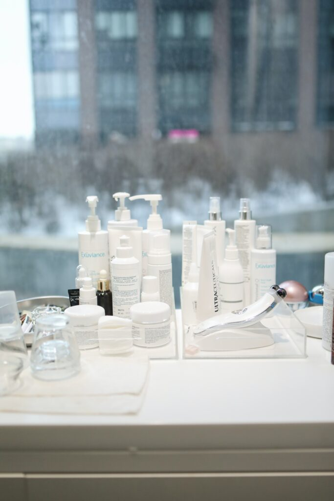 beauty products in a salon