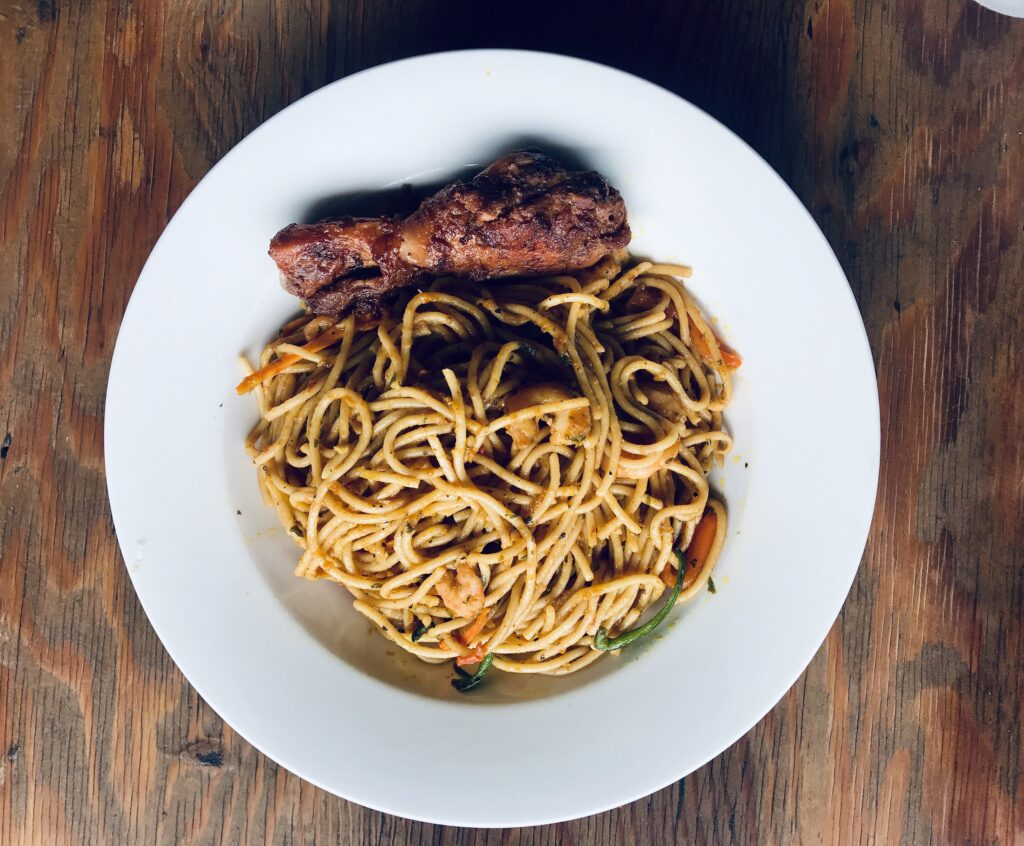 A plate of Spaghetti in-house at Papiee's Meatro Lagos